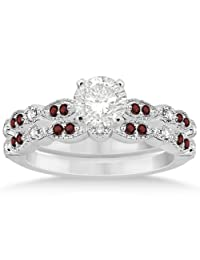 Marquise and Dot Garnet and Diamond Bridal Set Palladium (0.49ct) (No center stone included)