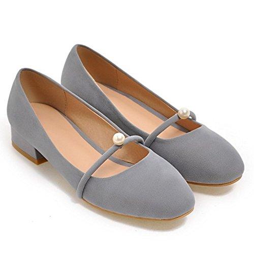 Bajo Tacon Ancho Simple Perla Zapatos Bombas Gris Cerrado Mujer Sin Coolcept Cordones Con w1OaSqw8