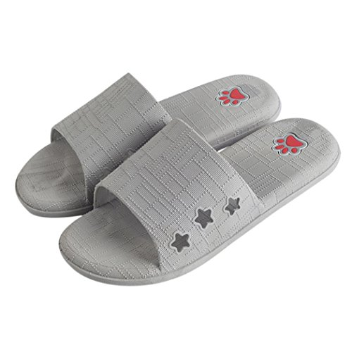 Fheaven Donne Uomini Coppie Pantofole Da Bagno Piatto Sandali Estivi Casa Coperta Casuali Casuali Pantofole Casual Grigio