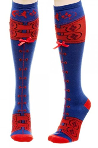 DC Comics Harley Quinn Suit Up Faux Lace-up KNEE HIGH SOCKS ()