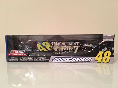 Diecast Transporter - 2016 7X Sprint Cup Champion Magnificent Seven 7 Jimmie Johnson #48 Lowes 1/64 Scale Hauler Trailer Semi Rig Transporter Truck Diecast