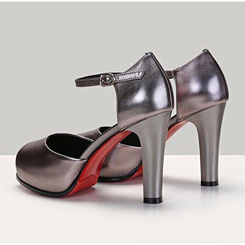 Color Moda Gun de de Tacones Tacones Sandalias Finos Zapatos de Boca Mujer Pescado Altos Cerrojo Z6qc6BUw