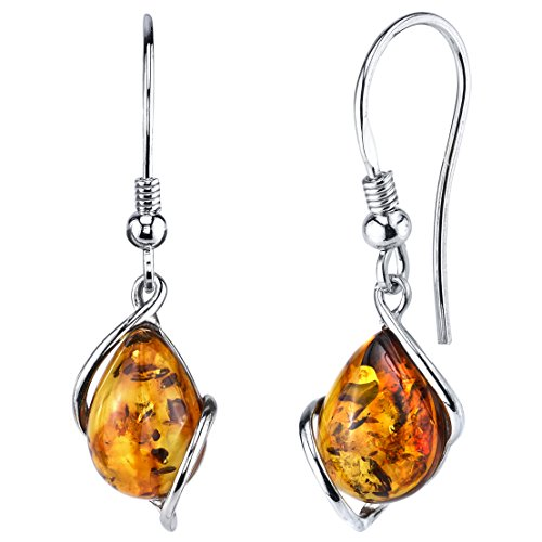 Sterling Silver Baltic Amber Drop Dangle Earrings Cognac Color 1.35 inches long - Cognac Color Amber Earrings