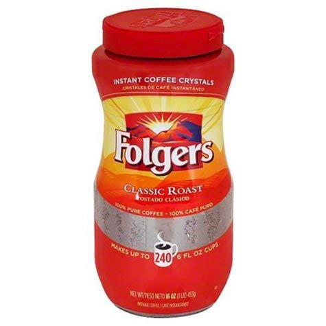 Folgers Classic Roast Instant Coffee Crystals - 16 Oz (Pack of 2) J.M. SMUCKER CO.