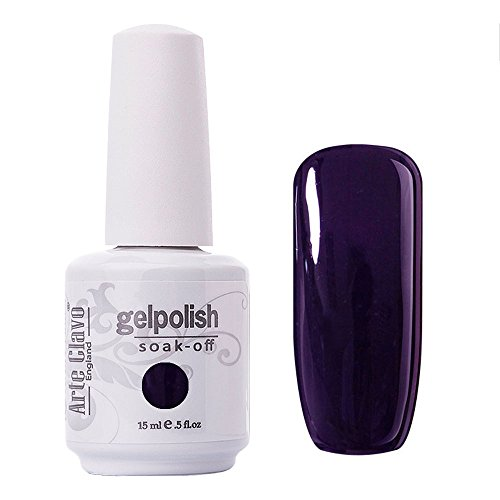 Arte Clavo Midnight Purple Nail Gel Polish Harmless Resin Professional Lacquer Soak Off Nail Art UV Lamp & LED 15ml ()
