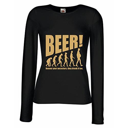 lepni.me N4534M Female Long Sleeves T-Shirt The Beervolution (XX-Large Black Gold) (Microbrew Gift Baskets)