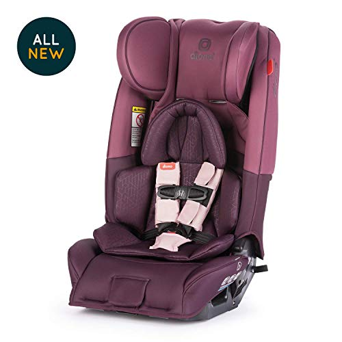 Diono Radian 3RXT, All-in-One Convertible Car Seat, Extended Rear-Facing 5-45 lbs, Forward-Facing to 65 lbs, Booster to 120 lbs, Fits 3 Seats Across, Plum