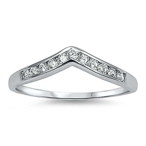 Pointed V Chevron Clear CZ Cute Ring New .925 Sterling Silver Band Size 8 (RNG14337-8) (Chevron Cz Ring)
