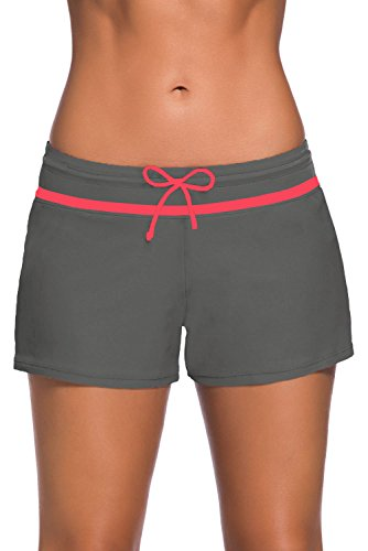 FIYOTE Women Sports Summer Bottom Slit Swim Beach Board Shorts X-Large Size Red by FIYOTE