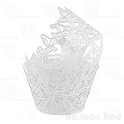Butterflies Artistic Filigree Lace Laser Cut Cupcake Wrappers Muffin Case, Pack of 24, White