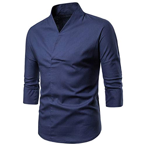 Mens Fashion Cotton Linen T-Shirt Solid Color Tops