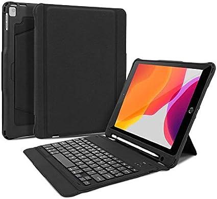 OMOTON Funda Teclado para iPad 10.2 2019, iPad Pro 10.5, iPad Air 3 10.5 Pulgadas, Español Teclado Bluetooth Movible, Teclado Inalámbrico, Negro