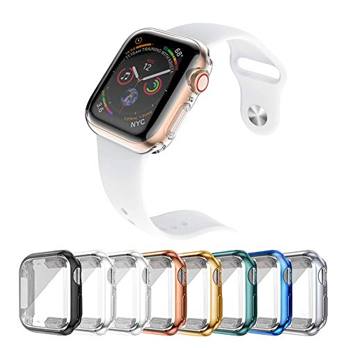 [8 Pezzi] Custodia Protettiva per Apple Watch Compatibile con Apple Watch Series 6/5/4/SE 40mm, Caso in Gel Silicone Morbida in TPU, Chiaro, Anti-Graffio, per Apple Watch Serie 6/5/4/SE