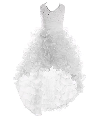 FAIRY COUPLE Big Girl's Satin Organza Hi-Lo Formal Communion Pageant Dress K0025 12 White by FAIRY COUPLE