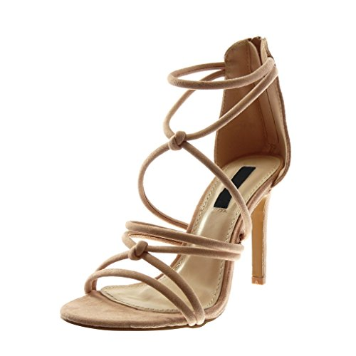 Angkorly Damen Schuhe Sandalen Pumpe - Stiletto - Multi-Zaum Stiletto High Heel 10 cm Rosa
