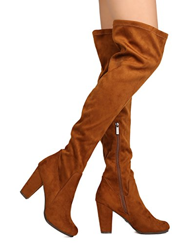 Breckelles Ga45 Kvinner Faux Suede Over Kneet Chunky Hæl Boot Tan