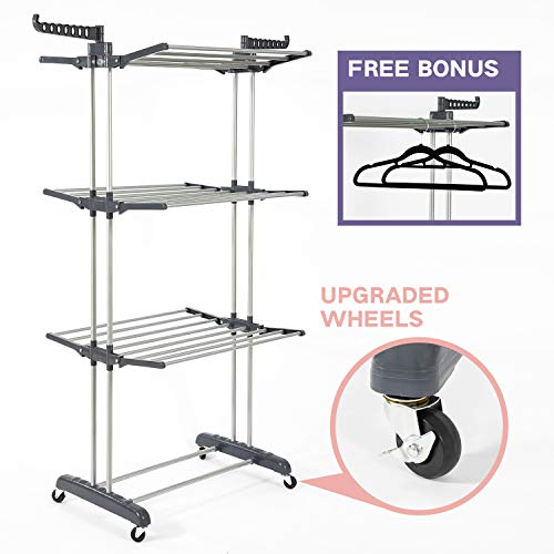 (SUPJOO Clothes Drying Rack for Laundry 3 Tier,Rolling Garment Rack with Foldable Wings,Collapsable Standing Rack for Indoor/Outdoor,Heavyduty Stainless Steel Dryer Hanger Stand Rail - Gray (Gray))