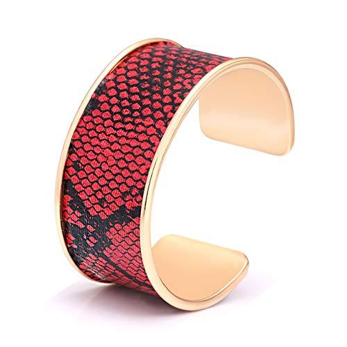 CEALXHENY Wide Cuff Bracelets for Women Leopard Bangle Bracelets Snakeskin Leather Wrap Cuff Bracelets for Girls (C Red&Black)