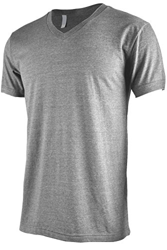 Tl Men Casual Basic Short Sleeve Tri Blend   100  Cotton V Neck T Shirt M H Grey