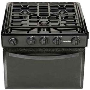 Rv Oven (Suburban 3206A Gas Range with Conventional Burners - Black w/Piezo Ignition, 17