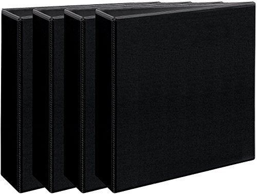 Avery Economy View Binder, 3'' Round Rings, 375-Sheet Capacity, 4 Binders, Black (03361) by Avery