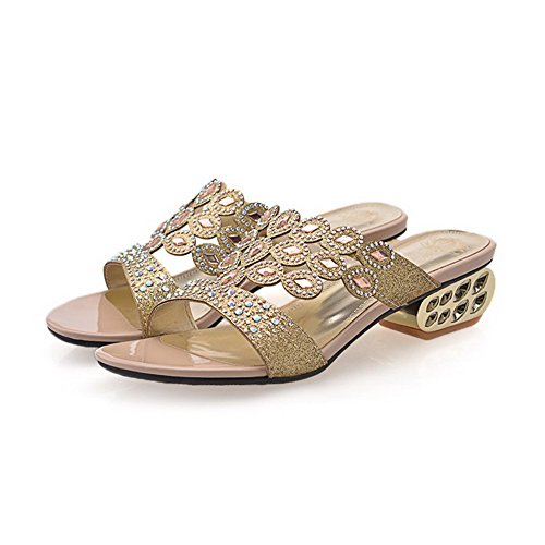on Low VogueZone009 Gold Heels Solid Blend Women's Open Toe Sandals Pull Materials pqEr6xE