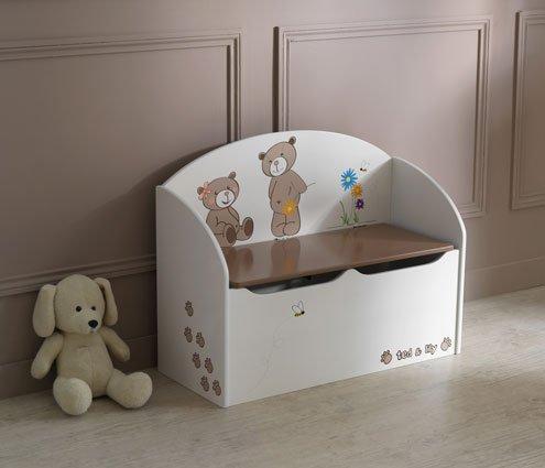Ted und Lily Spielzeugtruhe Chocolat/Beige, B/H/T: 70/56/30 cm