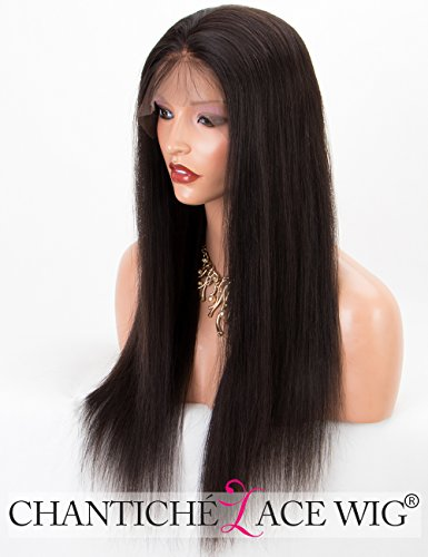 Chantiche Silky Straight Silk Top Lace Front Wig For African Americans Brazilian Remy Human Hair Full Wigs With Baby Hair 130 Density Medium Brown Lace 20 Inch #1B