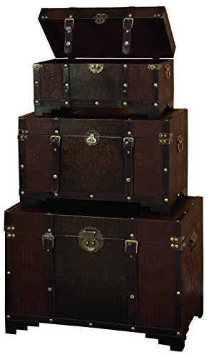 Deco 79 Classic Old Time Leather N Wood Chest Trunk, Brown, Set of 3 by Deco 79