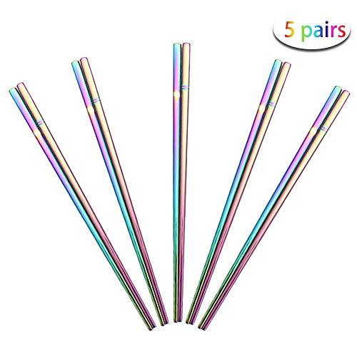 Rainbow Stainless Steel Chopsticks - Multicolor Reusable Chopsticks - Colorful Metal Square Chopsticks Set.(5 Pairs)