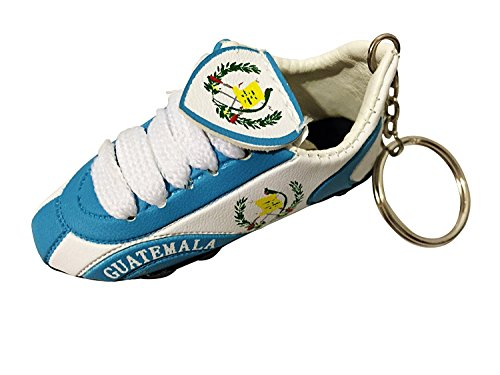 Football Soccer Futbol Mini Shoe KeyChains KeyRings - Americas (1-Pack, Country: Guatemala)