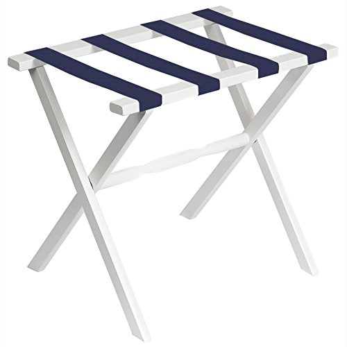 White Wood Folding Luggage Rack with Straight Legs and 4 Navy Straps ()