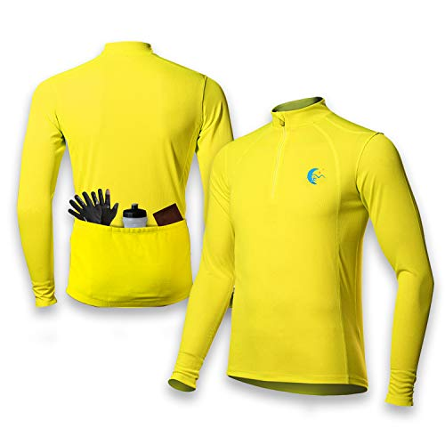 (MOONLIGHT FITNESS Men's Long Sleeve Spring - Summer Cycling Bike Jersey Quick Dry Safety Yellow (Large))