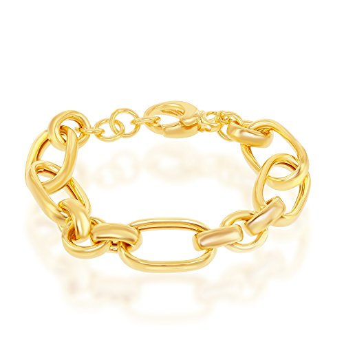 Sterling Silver Italian 14K Overlay Large Link 7+1