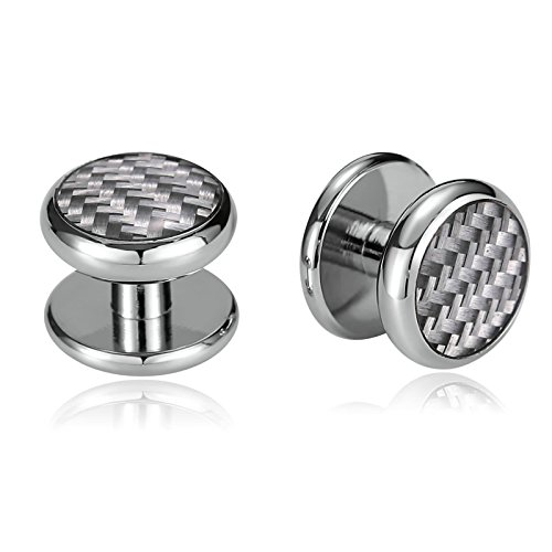 Daesar Stainless Steel Barbell Round with Carbon Fiber Silver Men's Cuff Links