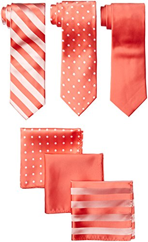 Sale Pink Ties Solid Neckties (Stacy Adams Men's 3 Pack Satin Neckties Solid Striped Dots with Pocket Squares, Coral, One Size)
