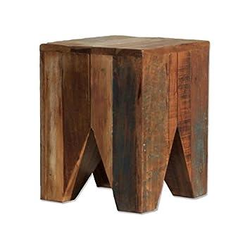Holz Hocker Eckig Beistelltisch Recyceltes Teak Holz Mit Farbakzent