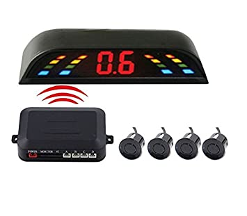 Sistema de aparcamiento para coche con pantalla led y 4 sensores, detector de marcha atrás, radar de respaldo, Parktronic, sensores inalámbricos, ...