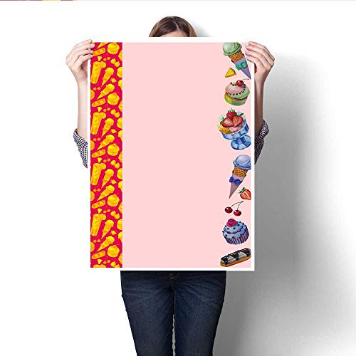 Anshesix Canvas Painting Sticker Beautiful Cards Hand Drawn Watercolor Sweets and Cakes Print On Canvas for Wall Decor 16