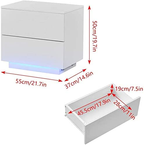 SPMDH Bedside table bedroom living room with two drawers with LED,White-A