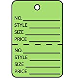 RetailSource G26015x1 1 3/4 x 2 7/8'' Green Perforated Garment Tags, 3.25'' Height, 7.5'' Length (Pack of 1000)