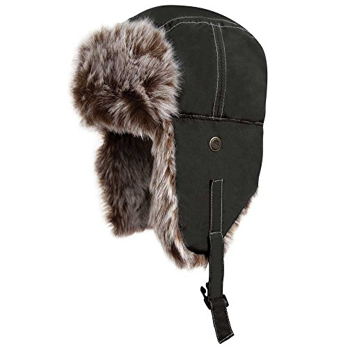 Warm Unisex Classic Fur azabache negro Sherpa Lined Waterproof Hat Result Essentials Winter pW6XOO