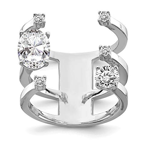 925 Sterling Silver Cubic Zirconia Cz Adjustable Band Ring Size 7.00 Fine Jewelry Gifts For Women For Her -