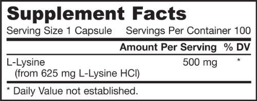 Jarrow Formulas L Lysine, Assists in Protein Metabolism, 500 Mg, 100 Count (Pack of 2)