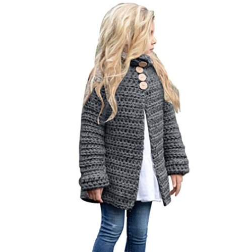 Sunbona Toddler Baby Girls Cute Autumn Button Knitted Sweater Cardigan Warm Thick Coat Clothes (8T(6~7years), Gray) ()