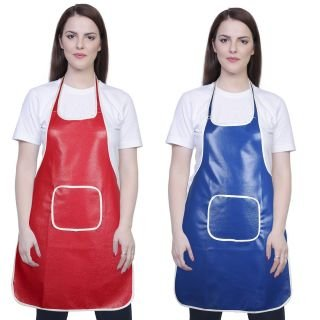 Yazlyn Collection Rexine Waterproof Apron with Front Pockets (Red and Blue) - Set of 2