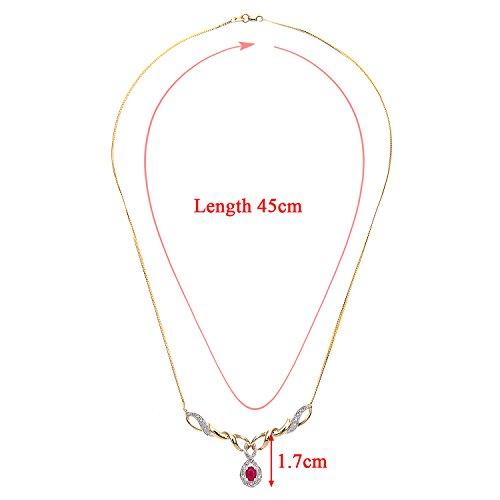 Revoni Bague en or jaune 9carats Rubis et Diamant Collier Pendentif avec chaîne 45cm