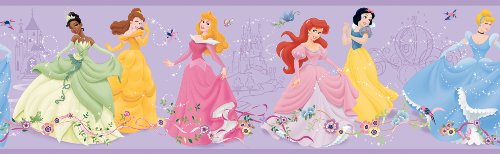 York Wallcoverings Disney - Cenefa de princesa bailarina para niños, Border, púrpura, (Purple .21)