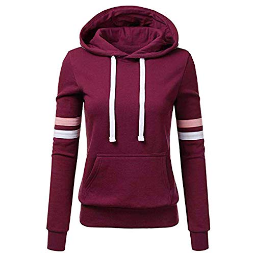 VEZAD Hoodie Women Stripe Sweatshirt Long Sleeve Shirt Pocket Pullover Tops