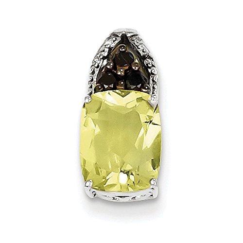 Argent Sterling diamant Quartz Noir et blanc Jaune Pendentif Femme-Carré-JewelryWeb
